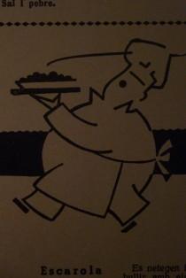 Orondo y lirondo cocinero-camarero que nos trae un suculento plato. ¿La tortilla de patatas sin huevo ni patatas?