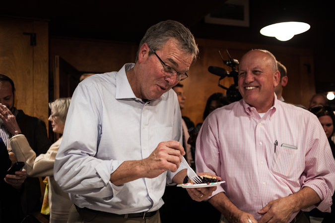 Jeb Bush eating pie, a rare indulgence for him these days, at a Republican event last week in Concord, N.H. Mr. Bush has lost about 30 pounds since December, friends and observers say. Credit Ian Thomas Jansen-Lonnquist for The New York Times