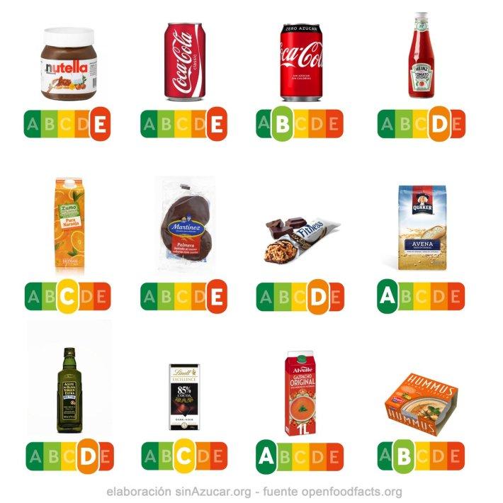 Nutri-score diferentes alimentos